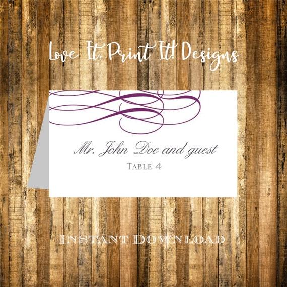 Wedding Place Card DIY Template Instant Download Elegant