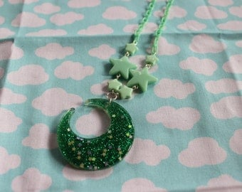 Fairy Kei Green Moon Necklace