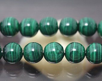 14 mm Natural Malachite Stone Beads, 15 inch one strand