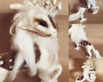 Needle felted white stag
