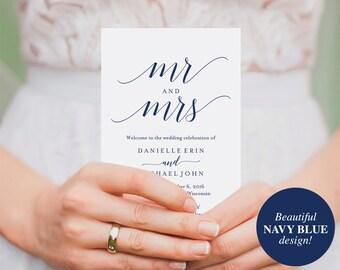 Wedding Program Template, Wedding Program Printable, Navy Blue Wedding Decorations, Wedding Template, PDF Instant Download #BPB320_3