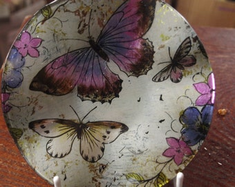 Lavender Butterfly Small Round Dish