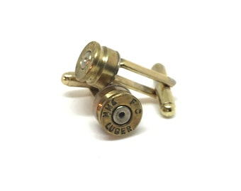 Mens Cuff Links 9mm Bullet