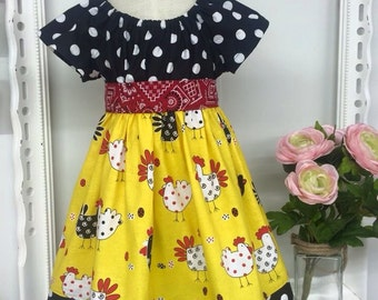 Country Patterned Chicken Olivia Dress