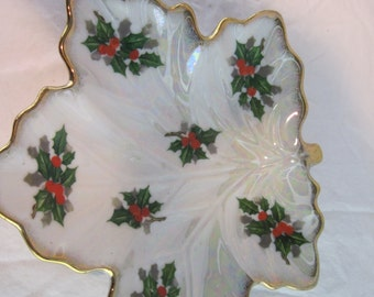 Christmas Candy Dish, 1950's Candy Dish, Holly Motif Candy Dish, Vintage Candy Dish, Leaf with Gold Trim Dish