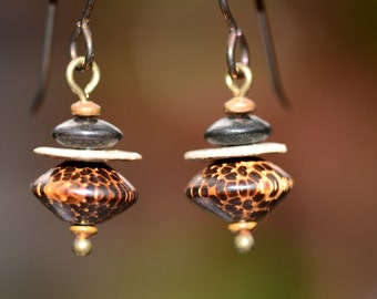 Earrings with Handmade Stoneware Discs, Wood, Horn, Copper, Brass and Niobium Earwires