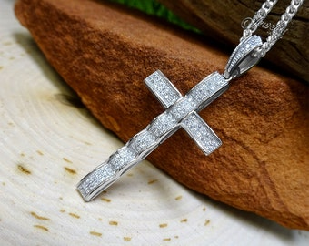 Cubic Zirconia Cross Pendant .925 Silver Necklace