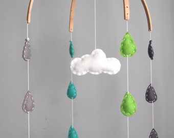 Baby Crib Mobile, Rain and Cloud Felt Mobile