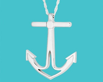 Anchor Necklace - Adjustable - Sterling Silver