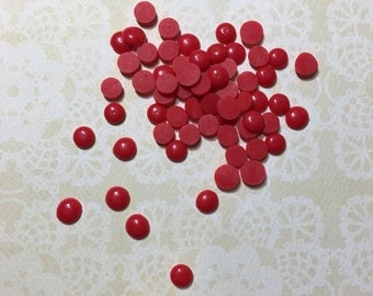 Red Enamel Dots - pack of 50 - embellishment, scrapbooking, card making