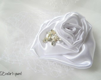 Rose headpiece with french net, French net veil