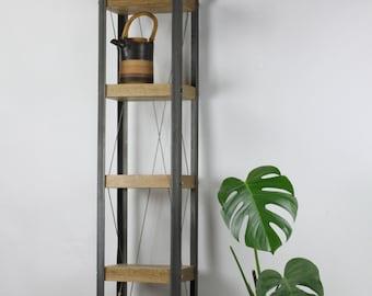 Classic Industrial Style Oak/Steel Bookcase (Mini)