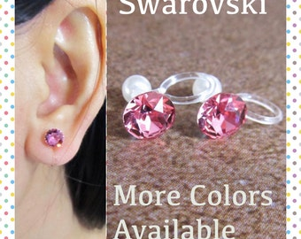 Pink Crystal Clip on Earrings |C7s| Swarovski Rhinestone Clip Earrings October Birthstone Clip-ons Stud Clip On Earrings Birthday Gift