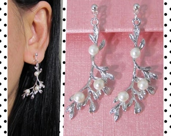 Branch Clip-on Earrings, 6F,Pearl clip on, clip on dangle, non pierced earrings, Leaf Bridal Clip on earrings, wedding clip on earrings