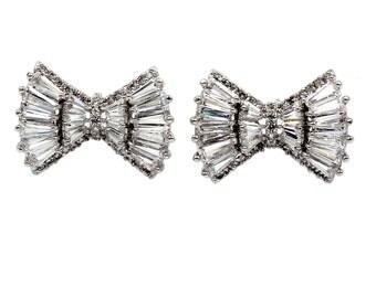 Mini folding crystal silver earrings