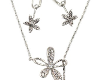Elegant crystal flower petals necklace earrings silver set