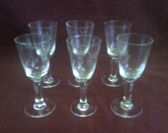 1930s Etched Liqueur Glasses Set of 6