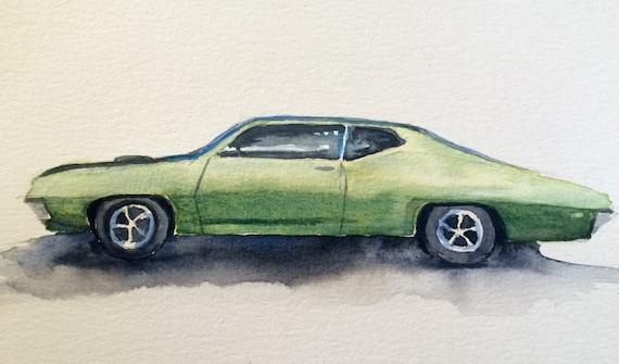 Gran Torino, muscle car, car art, American car, car watercolor, car painting