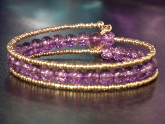 Purple and gold memory wire bracelets