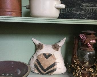Grungy Stuffed Primitive OWL Ornies Filler Cupboard Tuck Hanger