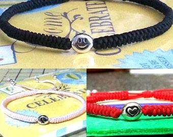 Personalized Love Heart Survivor Smiley Message Friendship Adjustable  Bracelet