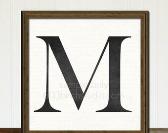 Bold Monogram Letter - You Choose Letter - Wall Art Print