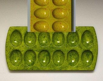 New Retangular Ceramic 12 Divot Egg Dish Green or Yellow