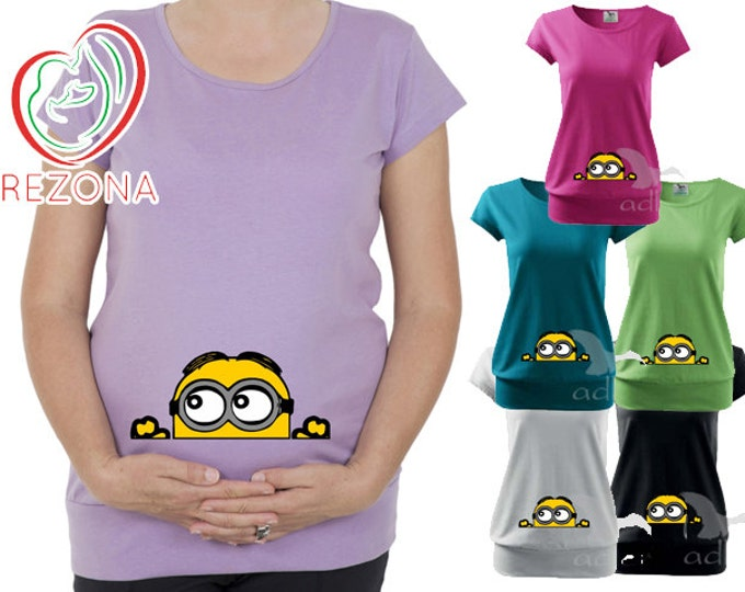 Maternity clothes, Maternity Clothing, Peeking Minion, Minions Disney Pixar tShirt, Pregnancy Shirt,Peekaboo, Peeking Dave,Baby Peeking