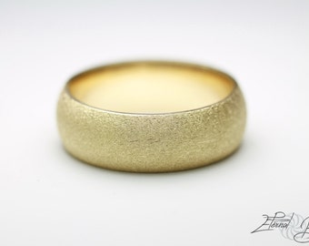 14k Solid Yellow Gold Wedding Band, Matte Wedding Band, Brushed Wedding Band, 7mm, Matte Finish Half Round Band
