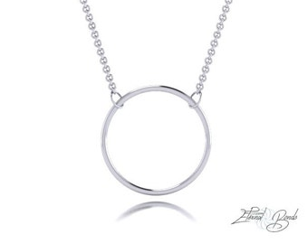 Solid 10k White Gold Hoop Necklace, 10k Gold Necklace, 10k White Gold Circle Necklace, 10k White Gold Ring Necklace, Gold Halo Necklace