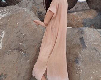 Terracotta Dress with Straight Trim