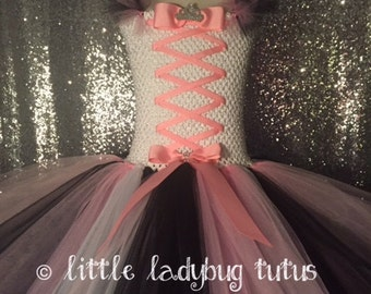 Princess Pirate Pink Black White Girls Tutu Dress. Pageants, Birthdays, Photo Prop, Toddler Tutu.