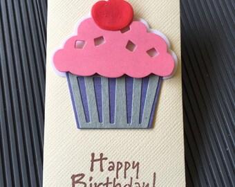 Cupcake giftcard Holder,Birthday Gift Card Holder,Birthday Money Envelope, Money Holder Ivory, Ivory Cash Holder, Happy Birthday Gift Holder