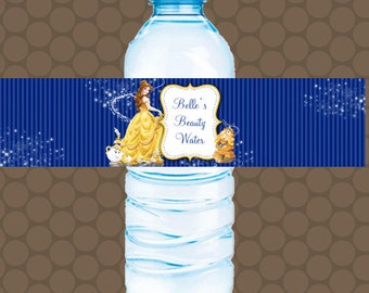 BELLE Beauty and the Beast Water Bottle Labels Wrappers Stickers Printable Uprint Digital DIY Instant Download