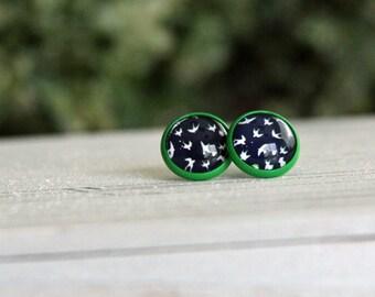 Green & Navy Bird Stud Earrings
