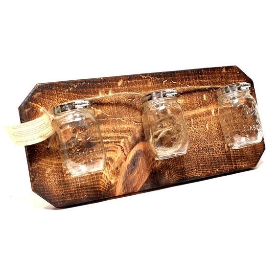 Handmade Triple Mason Jar Hanger (Wall Art/Vase) --- Flintface Woodshop