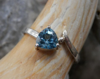 Blue Topaz & Silver Ring  8