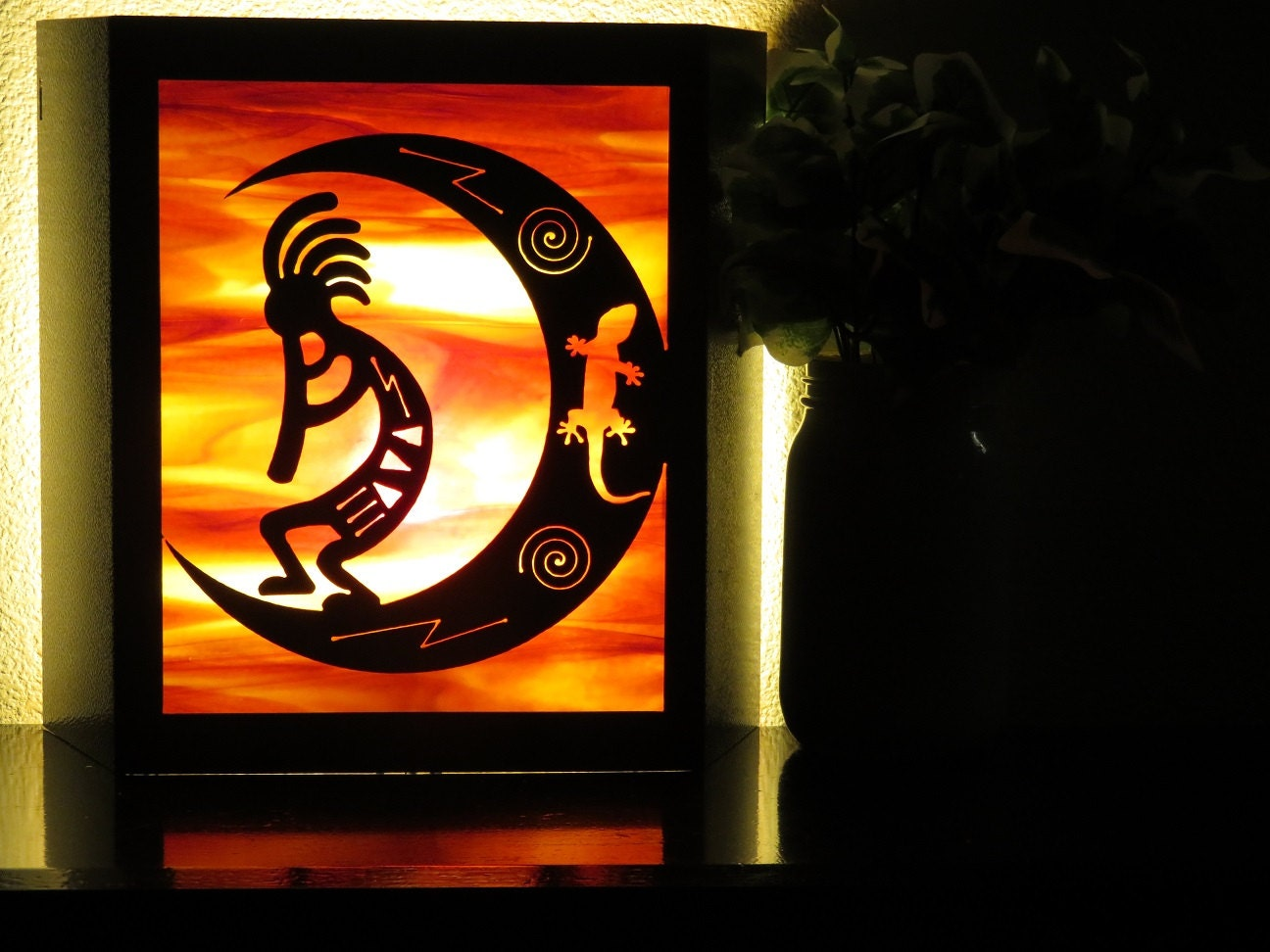 Kokopelli Wall Sconces : Kokopelli moon and gecko metal decor light sconces with real