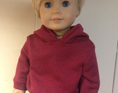 Maroon dark red hooded sweatshirt hoodie fits 18 inch dolls such as American girl dolls boy doll clothes