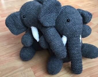 Cute handmade hand-knitted elephant siblings soft stuffed animals plushies grey