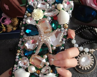 Bling Luxury Sparkles Pearls Blue Starfish Shell Flowers Crystals Rhinestones Diamonds Gems Lovely Fashion Hard Cover Case for Mobile Phones