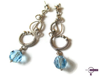 Sterling silver earrings, Wire wrapped earrings, Blue Swarovski earrings,  Aquamarine earrings, Silver earrings with Swarovski Elements
