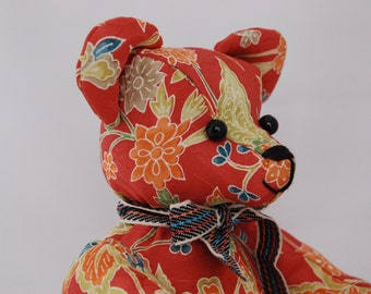 Japanese fabric Teddy Bear (Red)