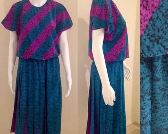 1980s retro teal and magenta midi dress size 12/14
