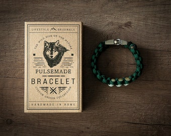 Men's bracelet-emerald green woman///Silver Grey unisex-Handmade Pulsemade paracord Mens bracelet-Womens Emerald///Silver Grey