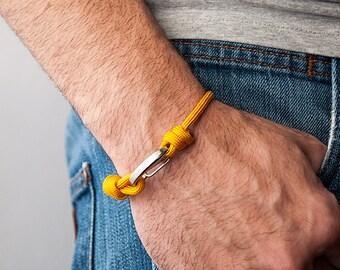 Men's bracelet-women's mustard unisex Paracord 550-Pulsemade Slim collection-Handmade paracord bracelet Goldenrod Mens/Womens