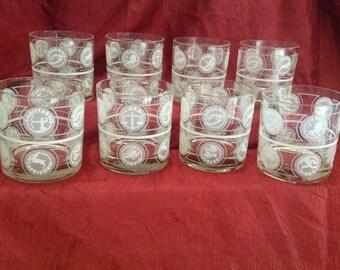 1970's Astrological Signs Glassware - Vintage Astrology, Vintage glassware