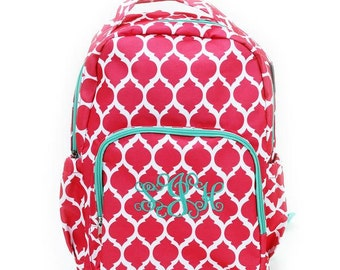 Coral Backpack, Monogrammed Backpack, Personalized Backpack, Embroidered Backpack, Coral Bookbag, Monogrammed Bookbag, Embroidered Bookbag