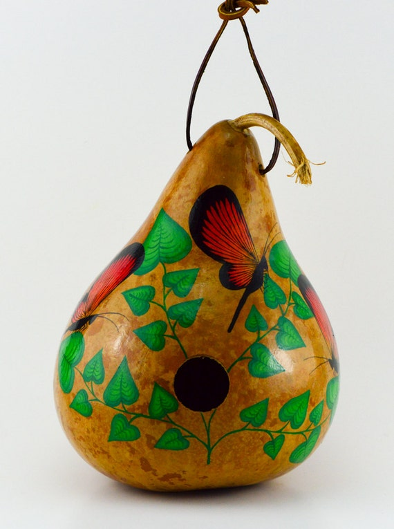 Butterfly Birdhouse - Gourd Birdhouse - Wren House - Ivy design - Purple Butterfly - Perfect Gift - Natural Home - Painted Gourd