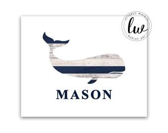 Whale Nursery Art, Nautical Nursery Print, Rustic Nautical, Whale Nursery Decor, Navy Whale Boy Nursery Nautical Rustic Wood Decor Boy Name